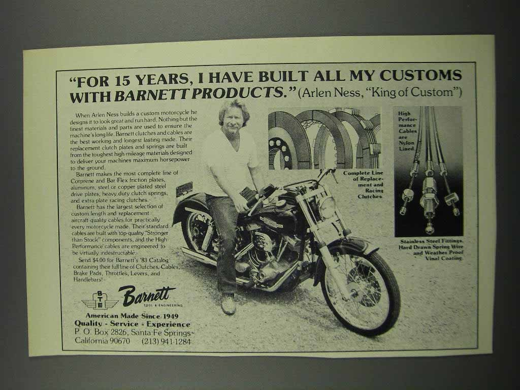 Primary image for 1983 Barnett Products Ad - Arlen Ness