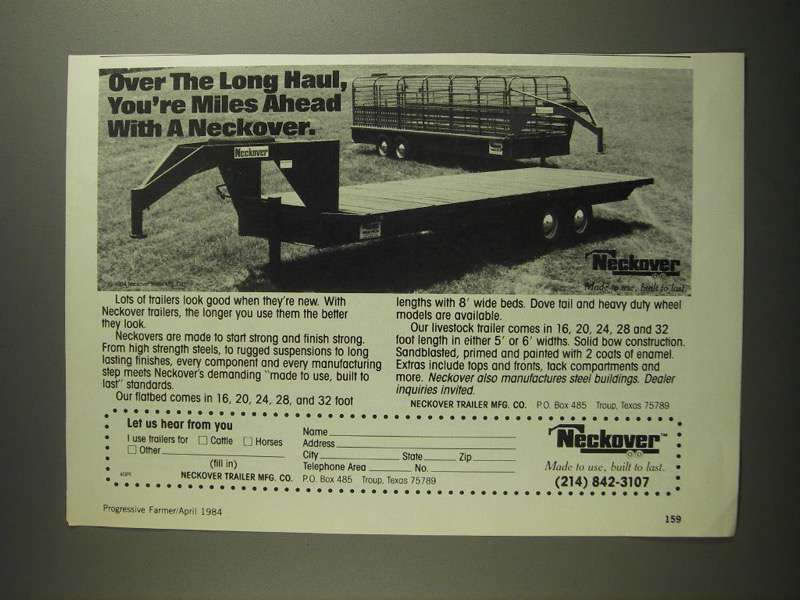 Primary image for 1984 Neckover Livestock and Flatbed Trailers Ad
