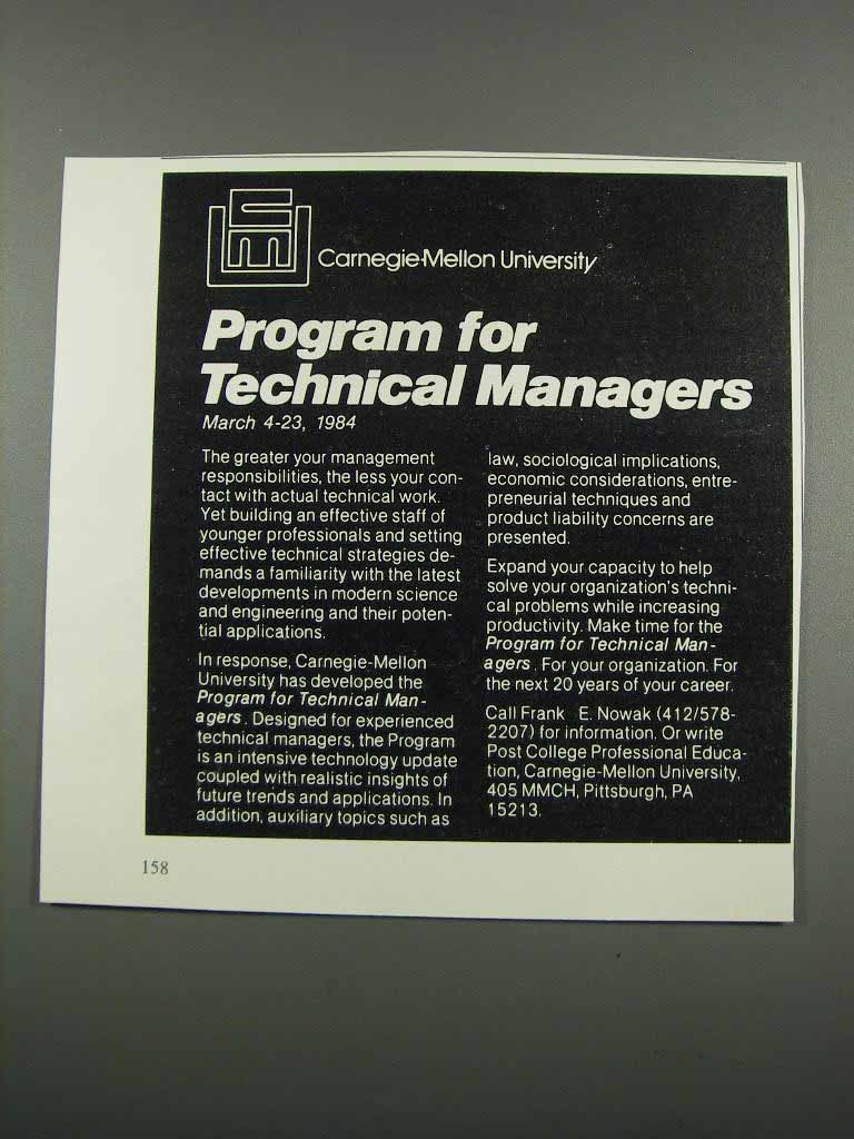Primary image for 1983 Carnegie-Mellon University Ad - Technical Managers