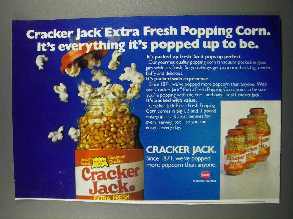 Primary image for 1983 Cracker Jack Extra Fresh Popping Corn Ad