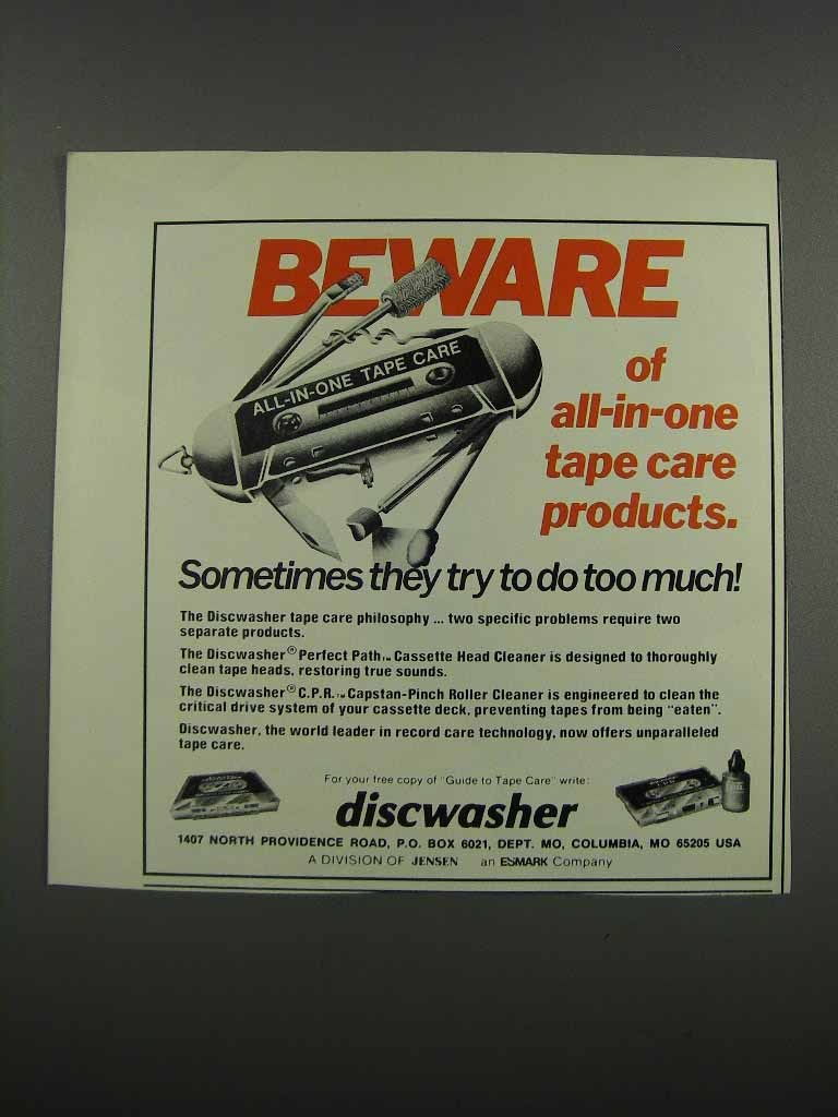 Primary image for 1983 Discwasher Ad - Perfect Path Cassette Head Cleaner