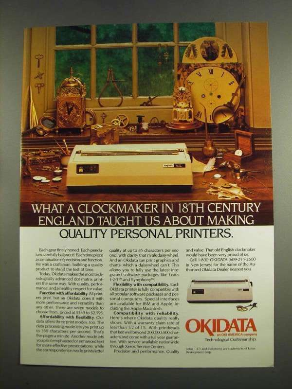 Primary image for 1984 Okidata Personal Printers Ad - A Clockmaker