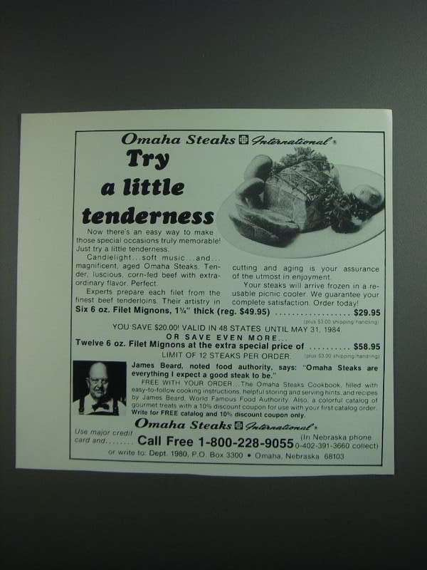 Primary image for 1984 Omaha Steaks Ad - Try a Little Tenderness