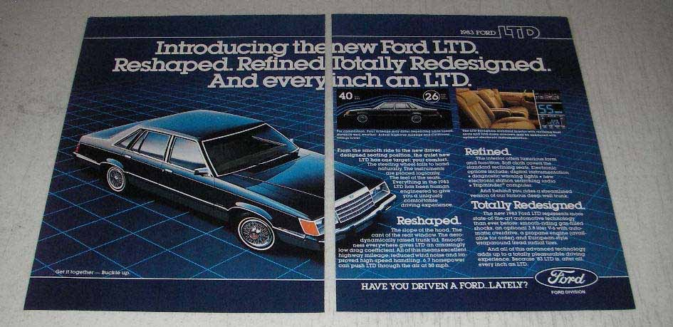 Primary image for 1983 Ford LTD Ad - Reshaped Refined Redesigned