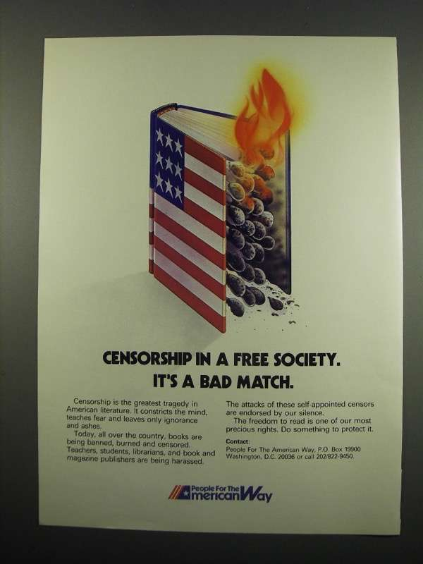 Primary image for 1984 People for the American Way Ad - Censorship