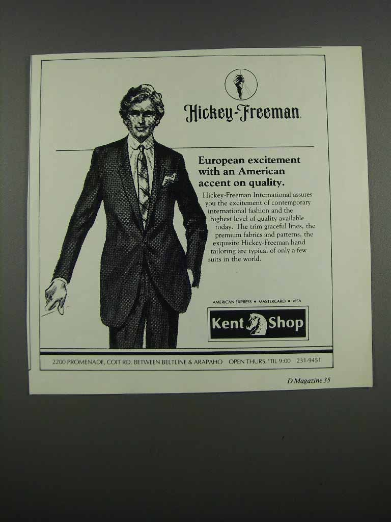 Primary image for 1983 Hickey-Freeman Suits Ad - European Excitement