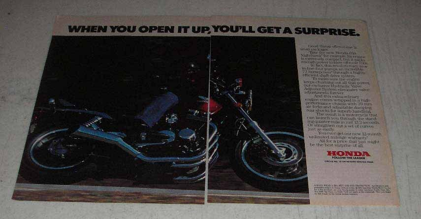 Primary image for 1983 Honda 650 Nighthawk Motorcycle Ad - Open it Up
