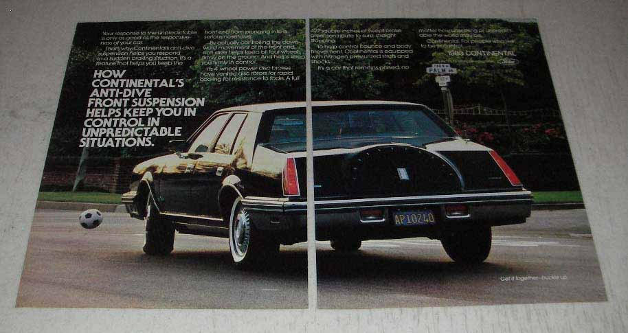 Primary image for 1983 Lincoln Continental Ad - Anti-Dive