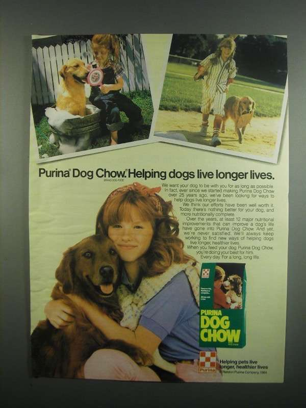 Primary image for 1984 Purina Dog Chow Dog Food Ad - Longer Lives