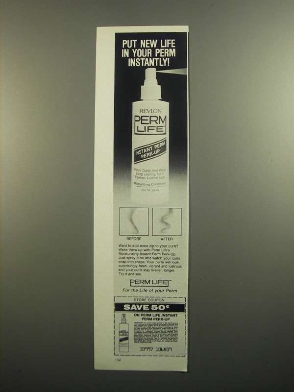 Primary image for 1984 Revlon Perm Life Instant Perm Perk-up Ad