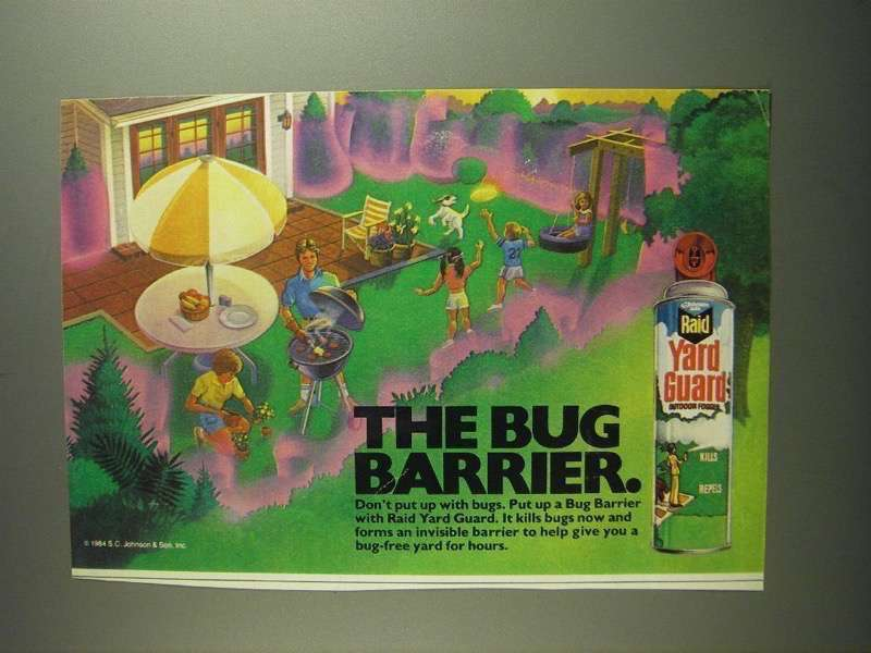 Primary image for 1984 Raid Yard Guard Outdoor Fogger Ad - Bug Barrier