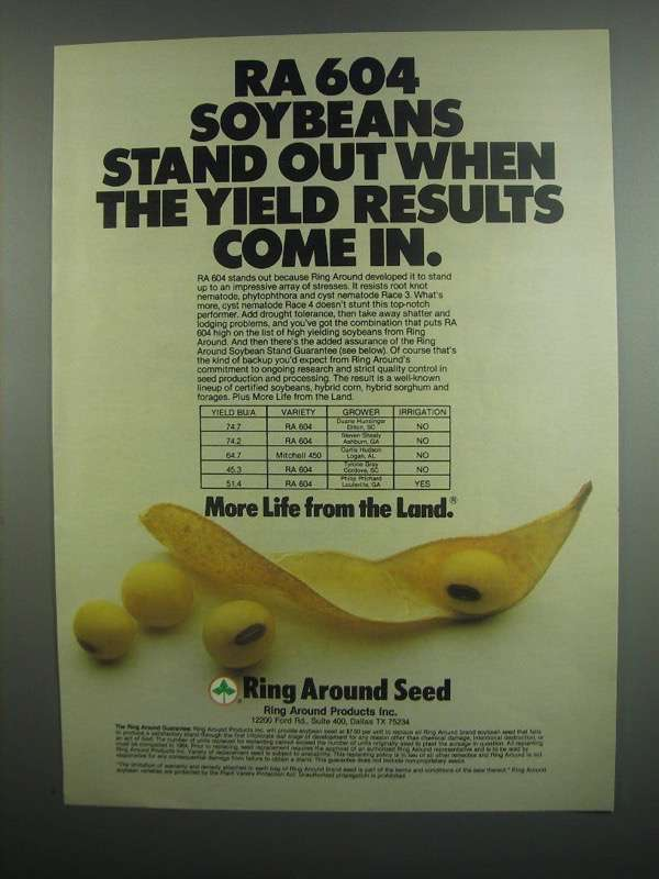 Primary image for 1984 Ring Around Products Inc. RA 604 Soybeans Ad