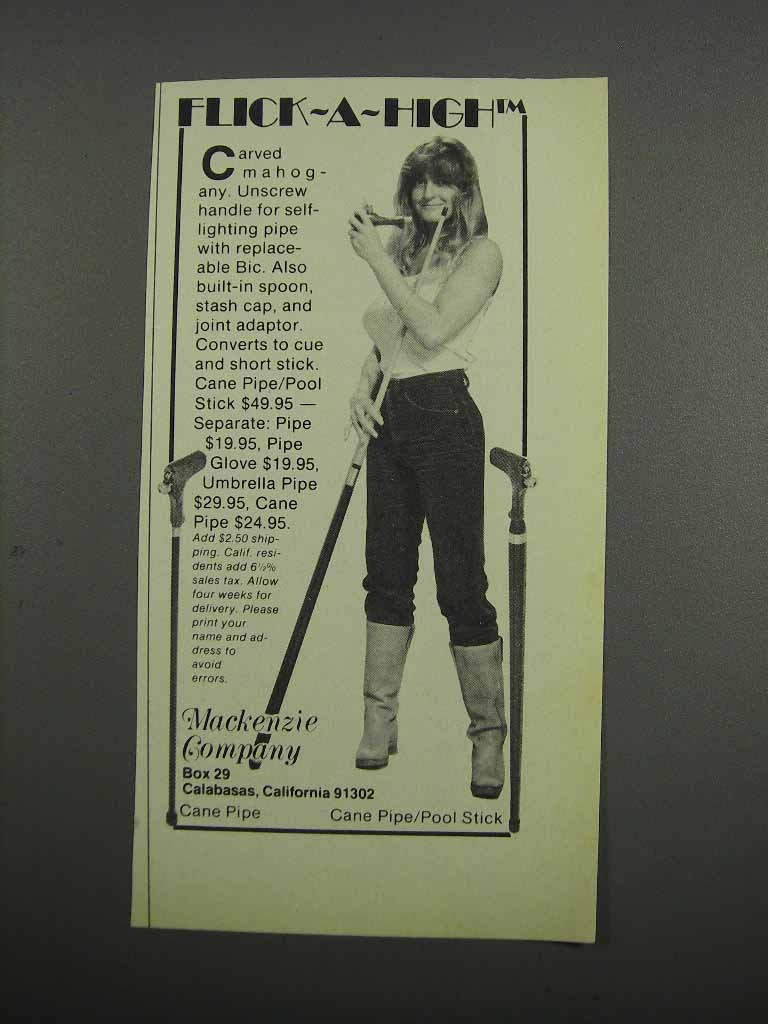 Primary image for 1983 Mackenzie Company Cane Pipe/Pool Stick Ad