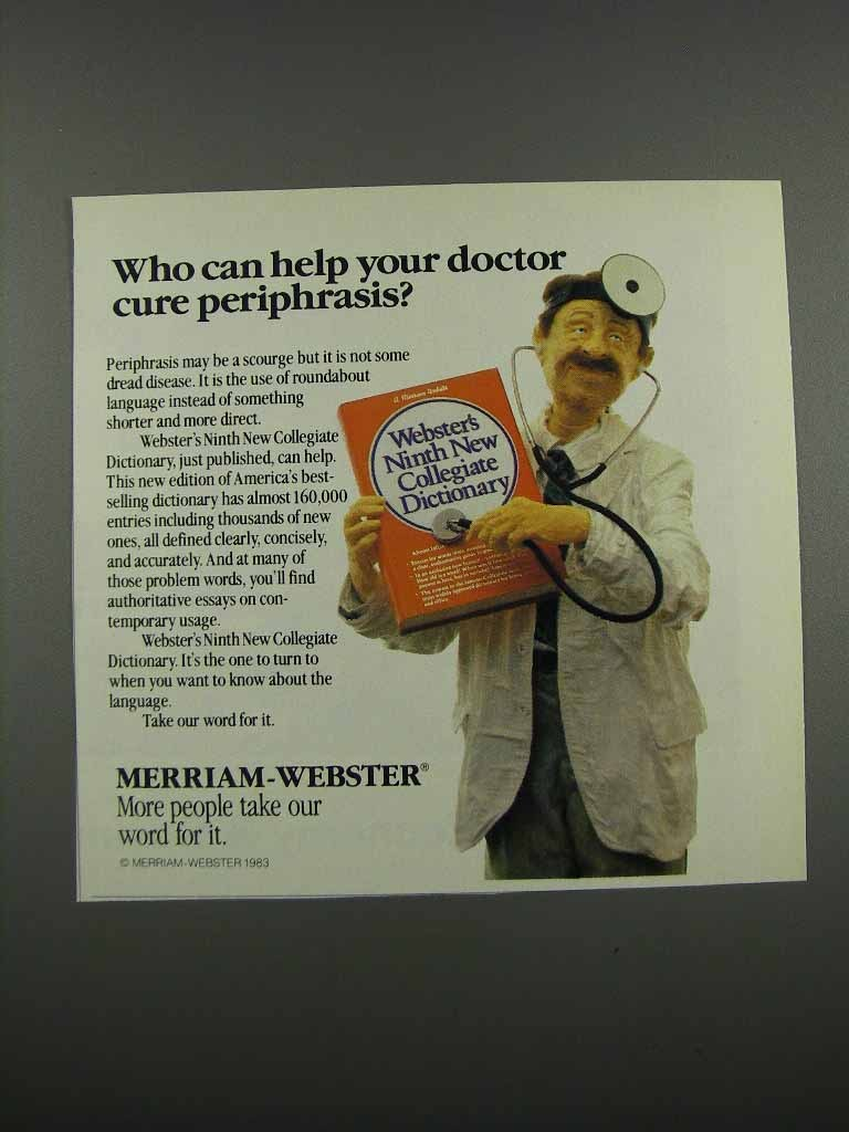 Primary image for 1983 Merriam-Webster Ninth New Collegiate Dictionary Ad