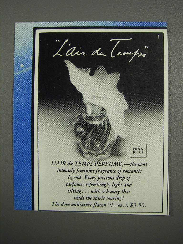 Primary image for 1983 Nina Ricci L'Air du Temps Perfume Ad