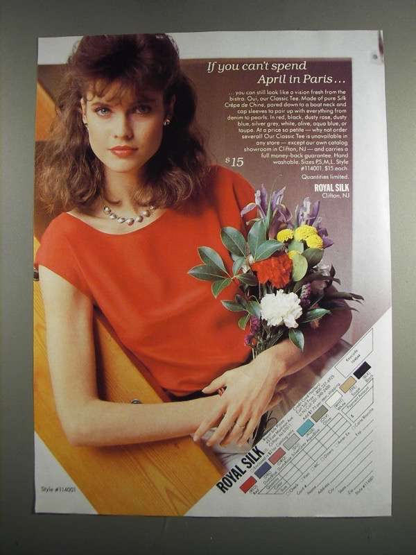 Primary image for 1984 Royal Silk Style #114001 Classic Tee Ad