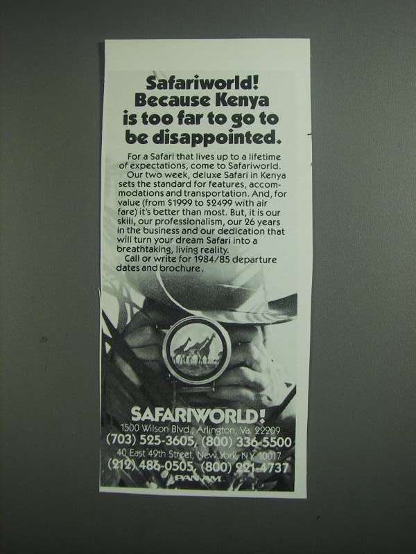 Primary image for 1984 Safariworld Safaris Ad - Kenya is Too Far to Go