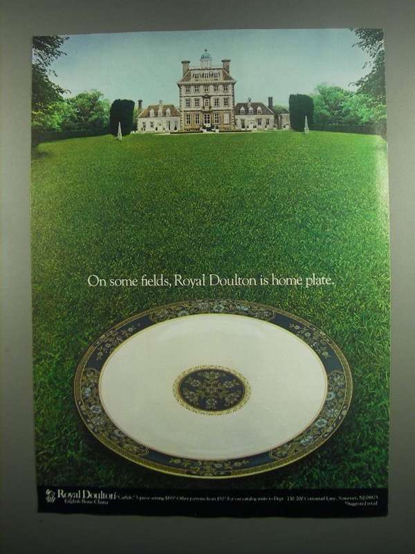 Primary image for 1984 Royal Doulton Carlyle Porcelain Ad - Home Plate