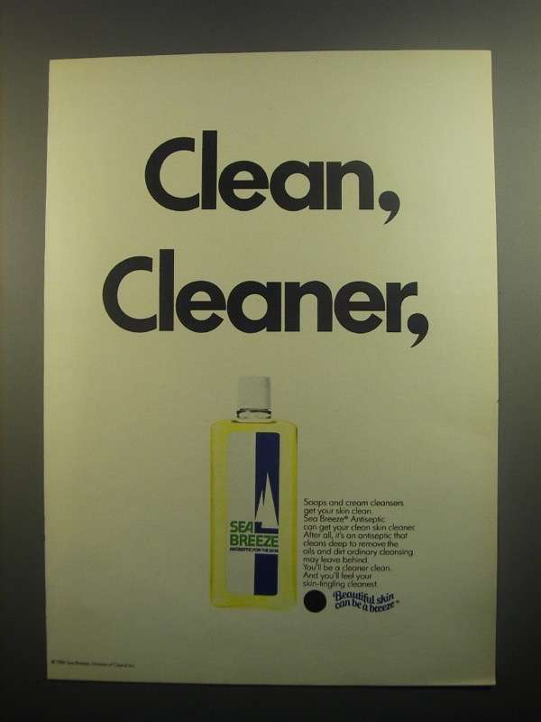 Primary image for 1984 Sea Breeze Antiseptic Ad - Clean, Cleaner