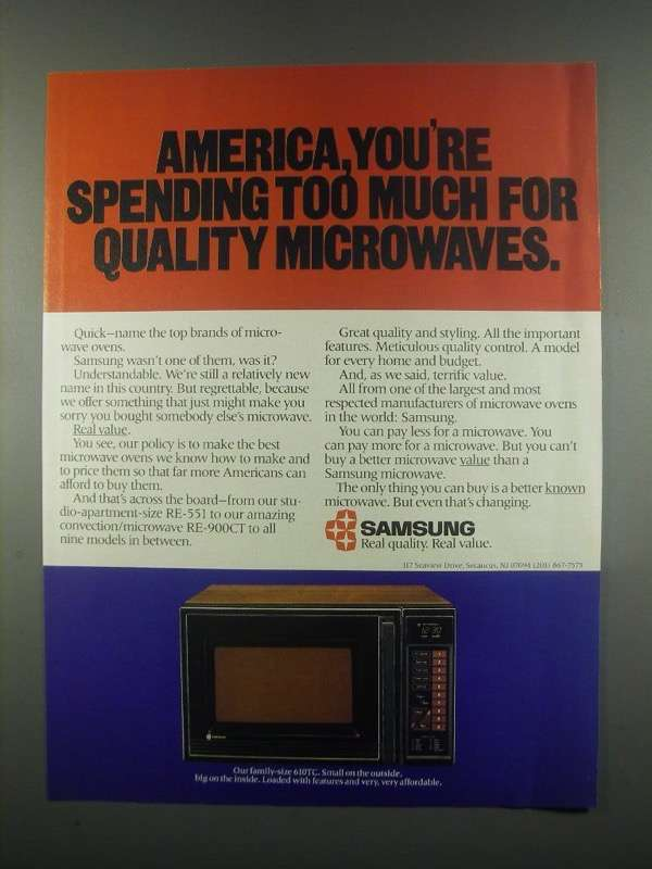 Primary image for 1984 Samsung 610TC Microwave Ad - America