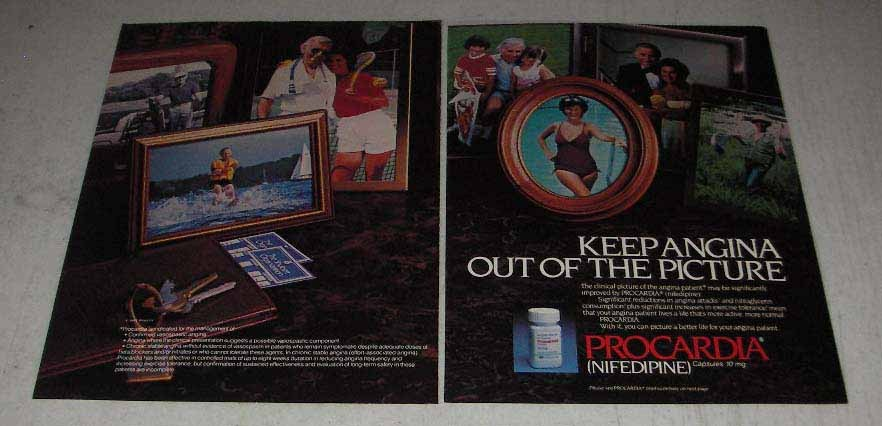 Primary image for 1983 Pfizer Procardia Ad - Angina Out of the Picture
