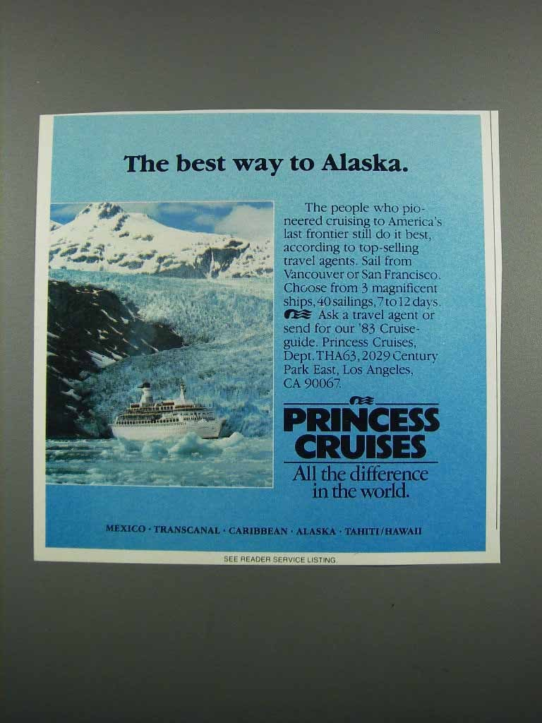 Primary image for 1983 Princess Cruises Ad - The Best Way to Alaska