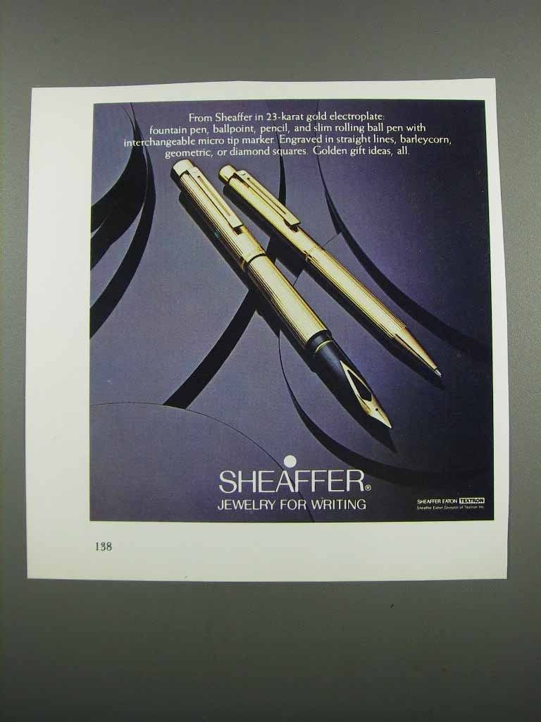 Primary image for 1983 Sheaffer Pens Ad - Jewelry For Writing