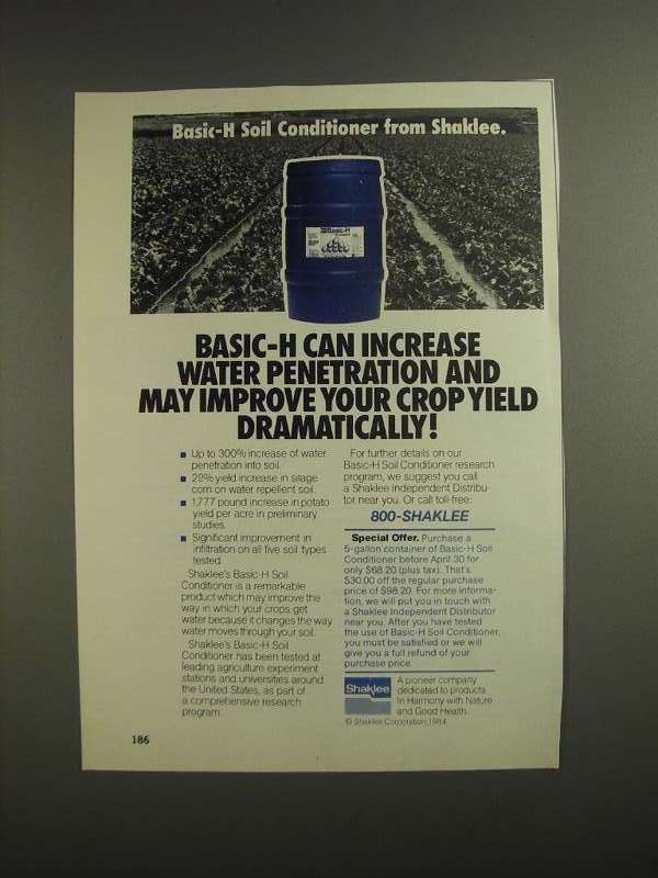 Primary image for 1984 Shaklee Basic-H Soil Conditioner Ad