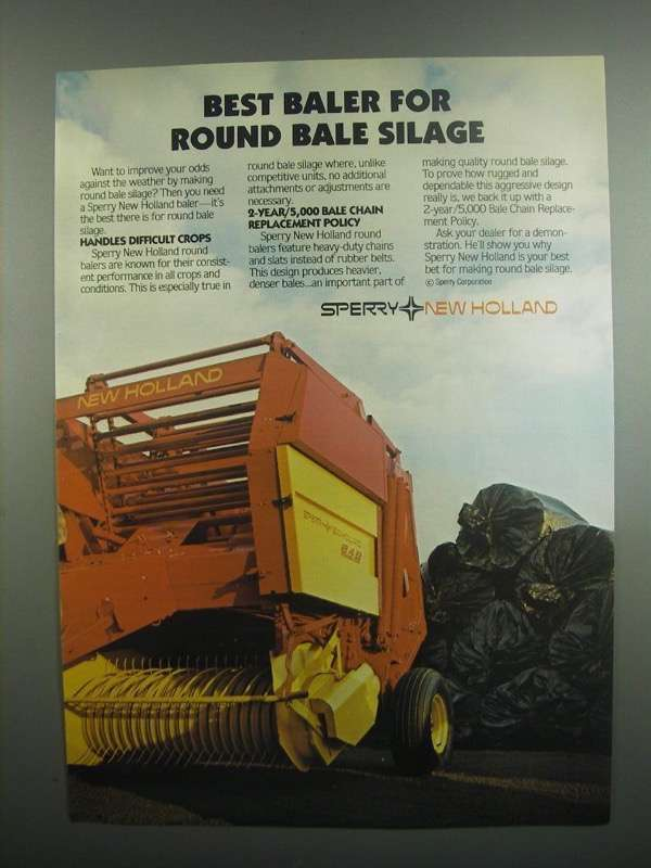 Primary image for 1984 Sperry New Holland 849 Baler Ad - Round Bale