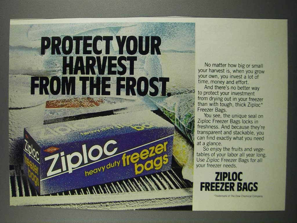 Primary image for 1983 Ziploc Freezer Bags Ad - Protect Your Harvest