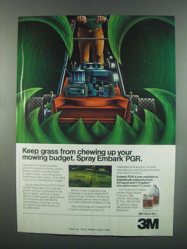 Primary image for 1984 3M Embark PGR Ad - Keep Grass From Chewing Up