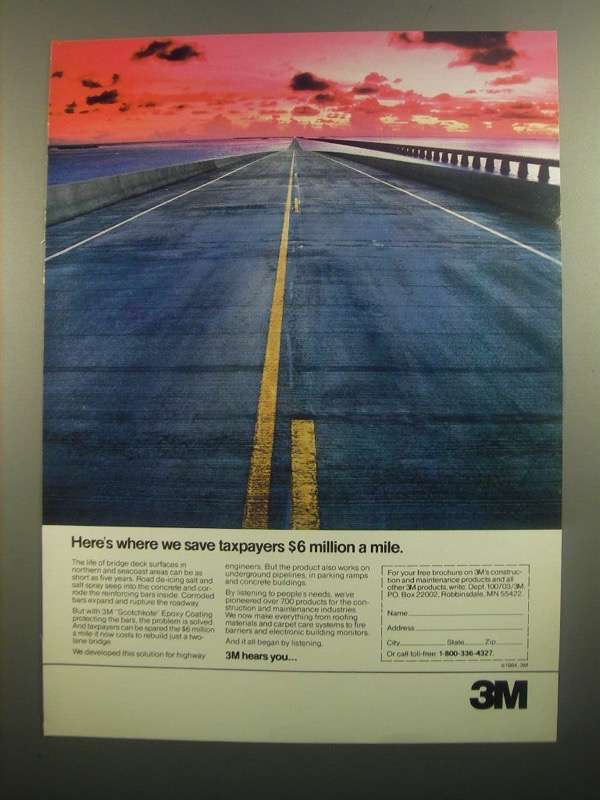 Primary image for 1984 3M Scotchkote Epoxy Coating Ad - Save Taxpayers