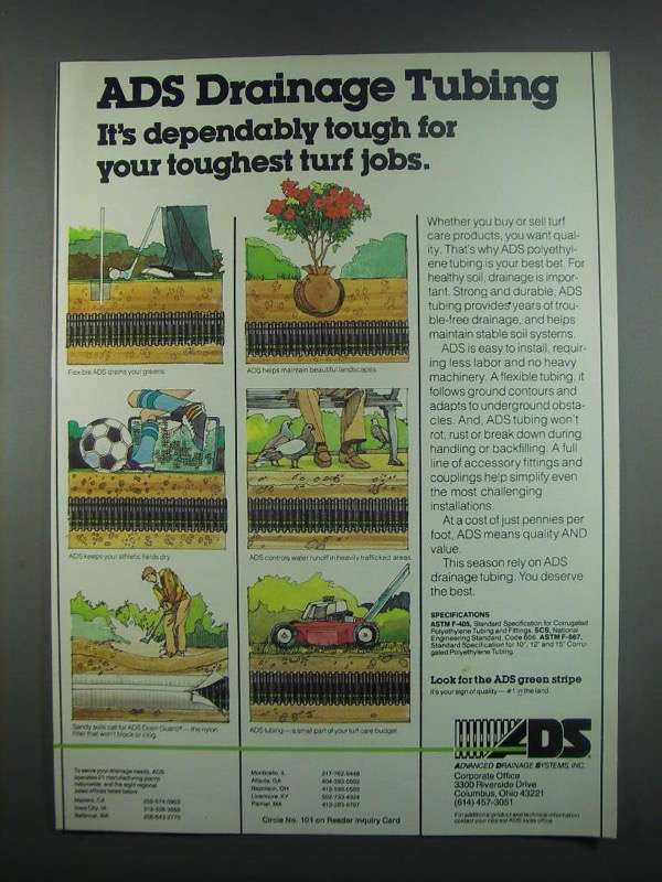 Primary image for 1984 ADS Drainage Tubing Ad - Dependably Tough