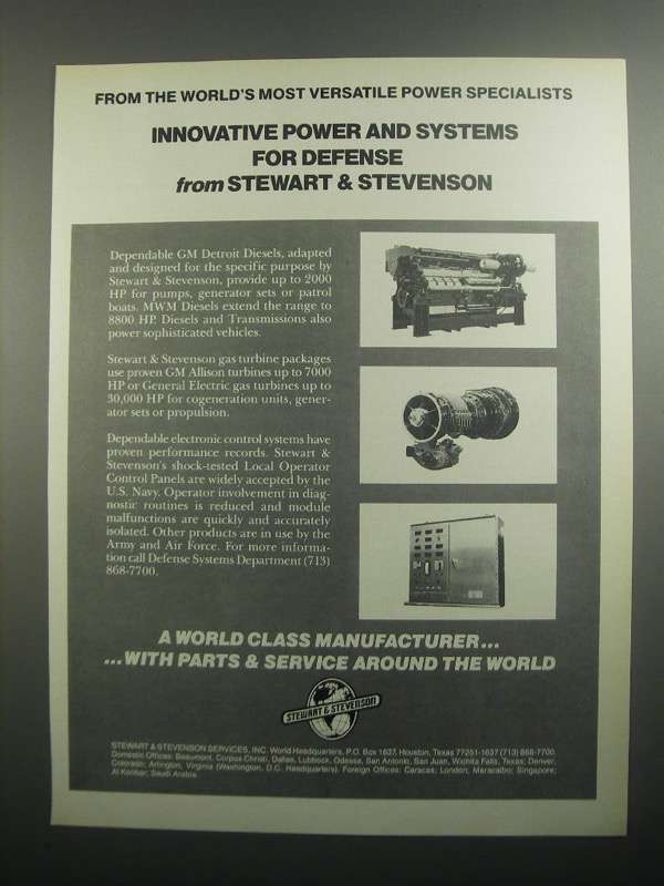 Primary image for 1984 Stewart & Stevenson Power & Systems for Defense Ad