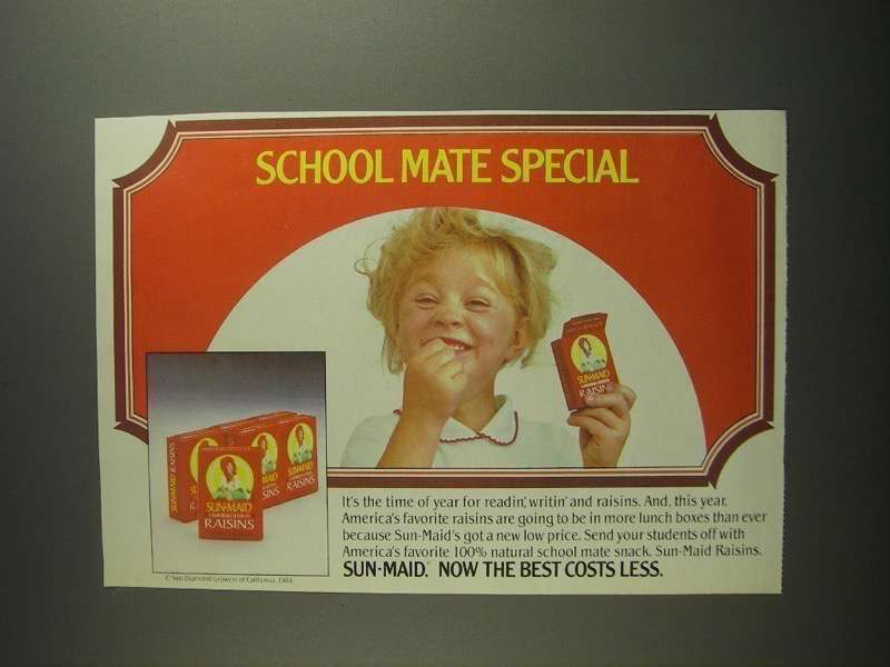 Primary image for 1984 Sun-Maid Raisins Ad - School Mate Special