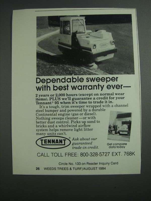 Primary image for 1984 Tennant 95 Sweeper Ad - Dependable Sweeper