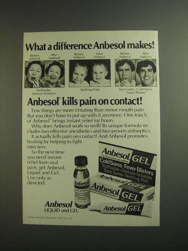 Primary image for 1984 Anbesol Liquid and Gel Ad - What a Difference