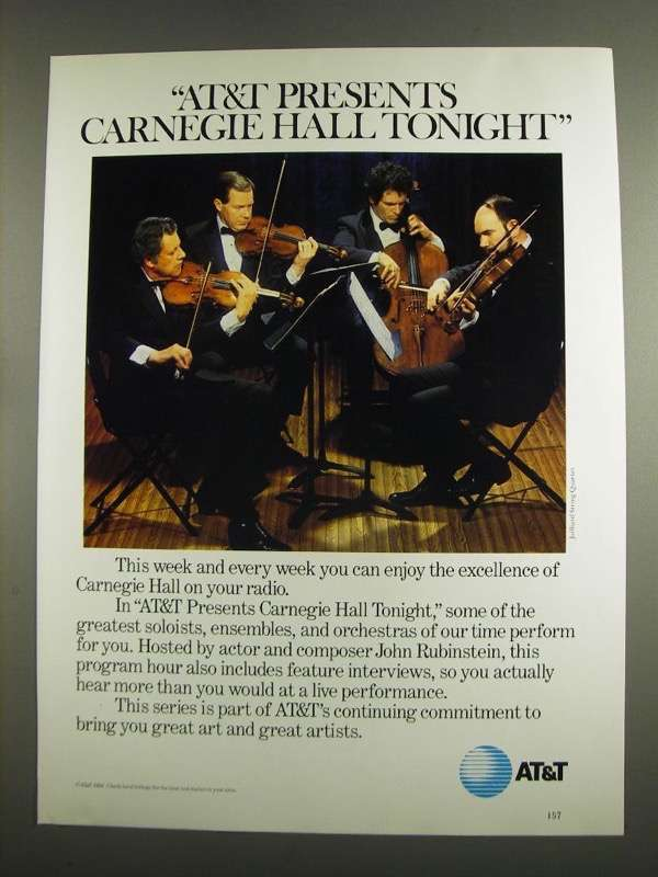 Primary image for 1984 AT&T Carnegie Hall Tonight Ad