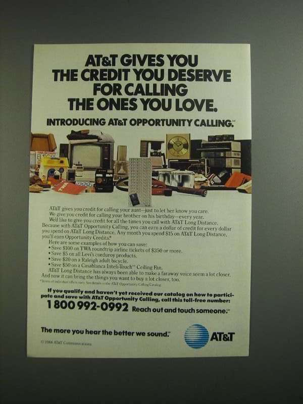 Primary image for 1984 AT&T Opportunity Calling Ad - Credit You Deserve
