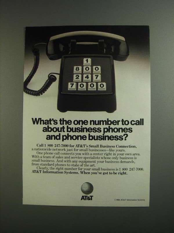 Primary image for 1984 AT&T Information Systems Ad - One Number to Call