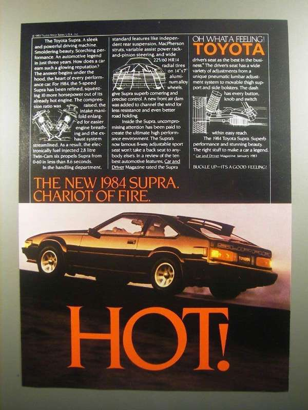 Primary image for 1984 Toyota Supra Ad - Hot!