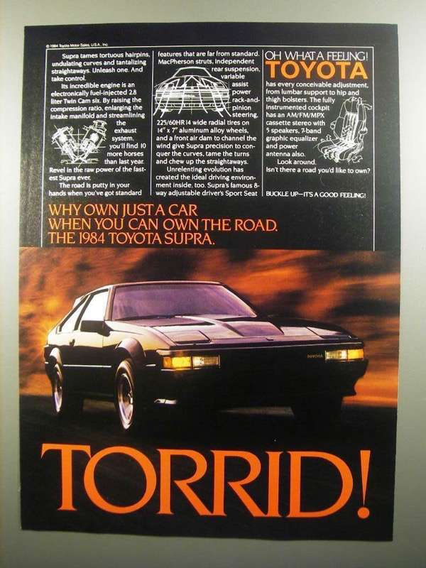 Primary image for 1984 Toyota Supra Ad - Torrid!