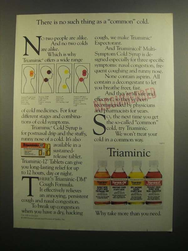 Primary image for 1984 Triaminic Medicine Ad - No Such Thing Common Cold