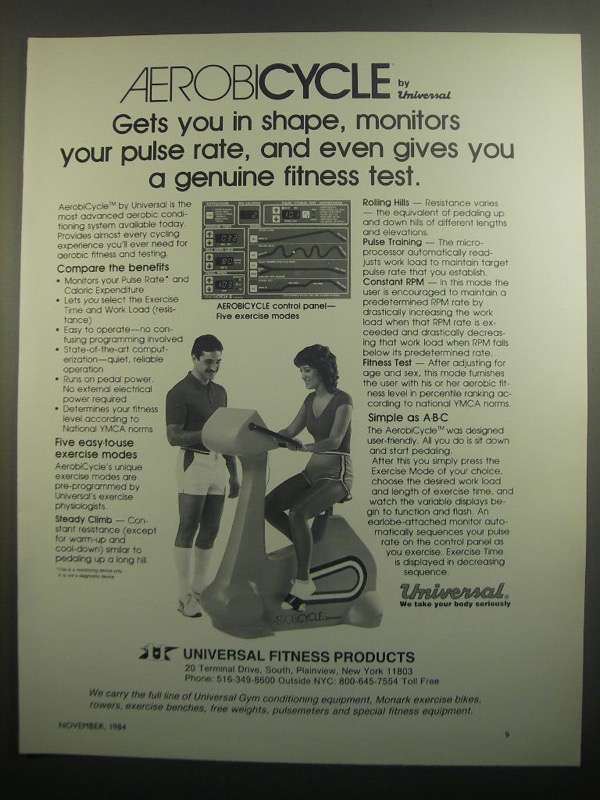 Primary image for 1984 Universal Fitness Products Aerobicycle Ad