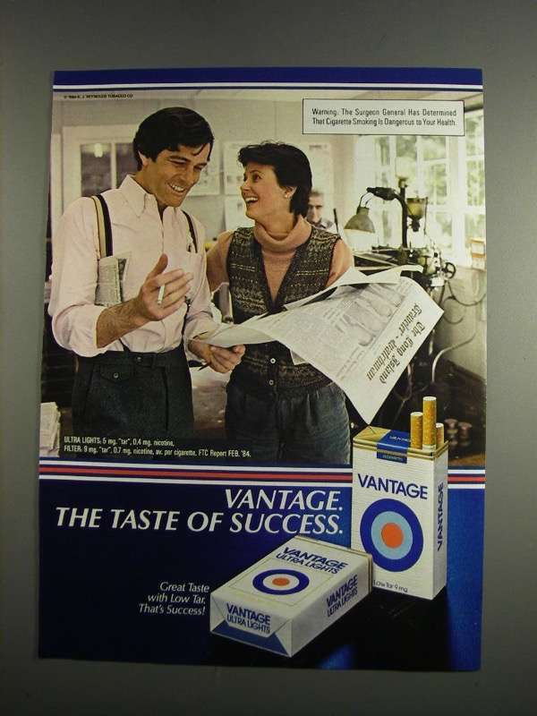 Primary image for 1984 Vantage Cigarettes Ad - Taste of Success