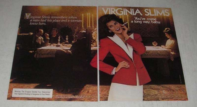 Primary image for 1984 Virginia Slims Cigarettes Ad - A Man Had His Place