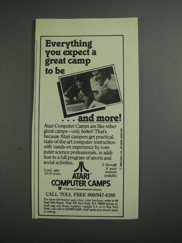 Primary image for 1984 Atari Computer Camps Ad - Everything You Expect