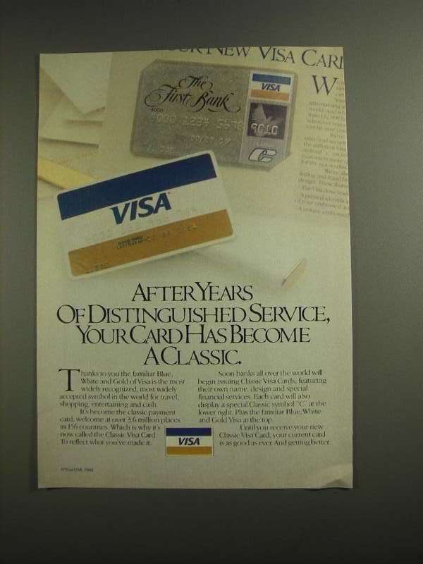 Primary image for 1984 VISA Credit Card Ad - Distinguished Service