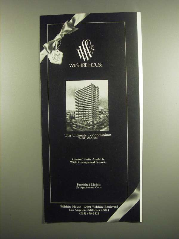 Primary image for 1984 Wilshire House Ad - The Ultimate Condominium