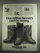 1984 Wolverine Boots & Shoes Ad - One Million Farmers - $14.99